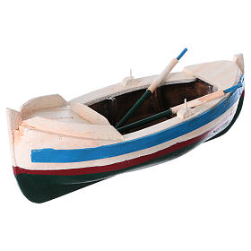 White and blue boat for Nativity Scene 10 cm s2