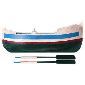 White and blue boat for Nativity Scene 10 cm s4