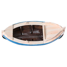 White and blue boat for Nativity Scene 10 cm s5