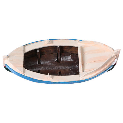 White and blue boat for Nativity Scene 10 cm 5