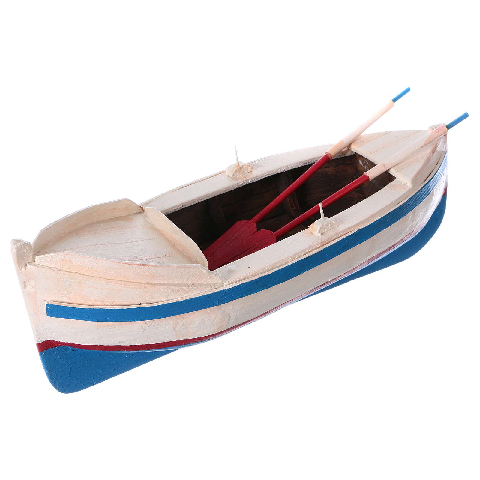 Pequeño barco de madera con remos belén 12 cm de altura media 4