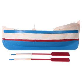 Pequeño barco de madera con remos belén 12 cm de altura media s4