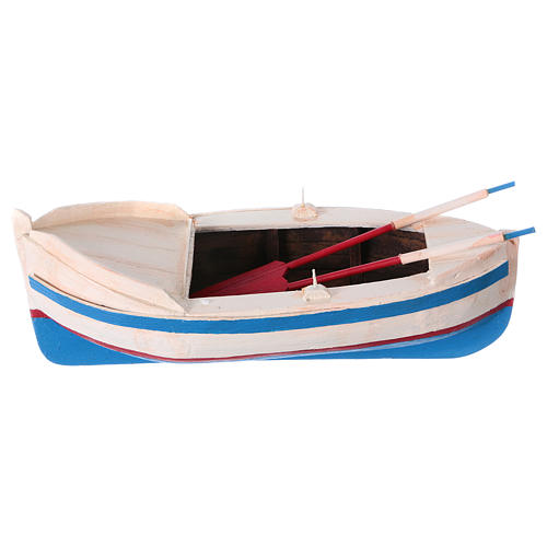 Pequeño barco de madera con remos belén 12 cm de altura media 1