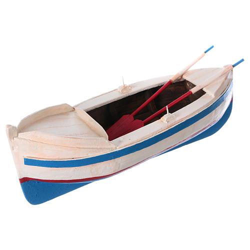 Pequeño barco de madera con remos belén 12 cm de altura media 2