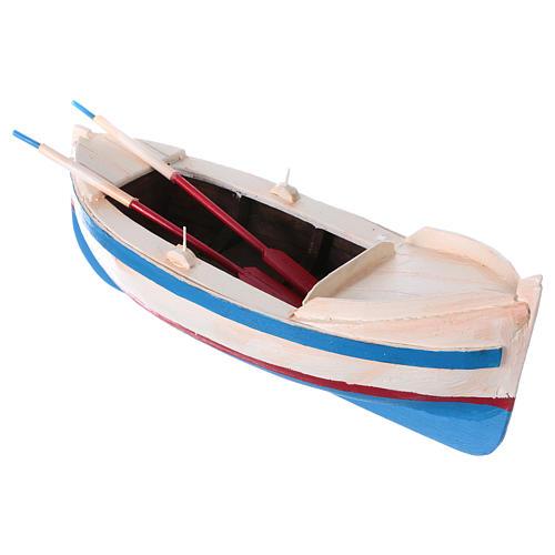 Pequeño barco de madera con remos belén 12 cm de altura media 3