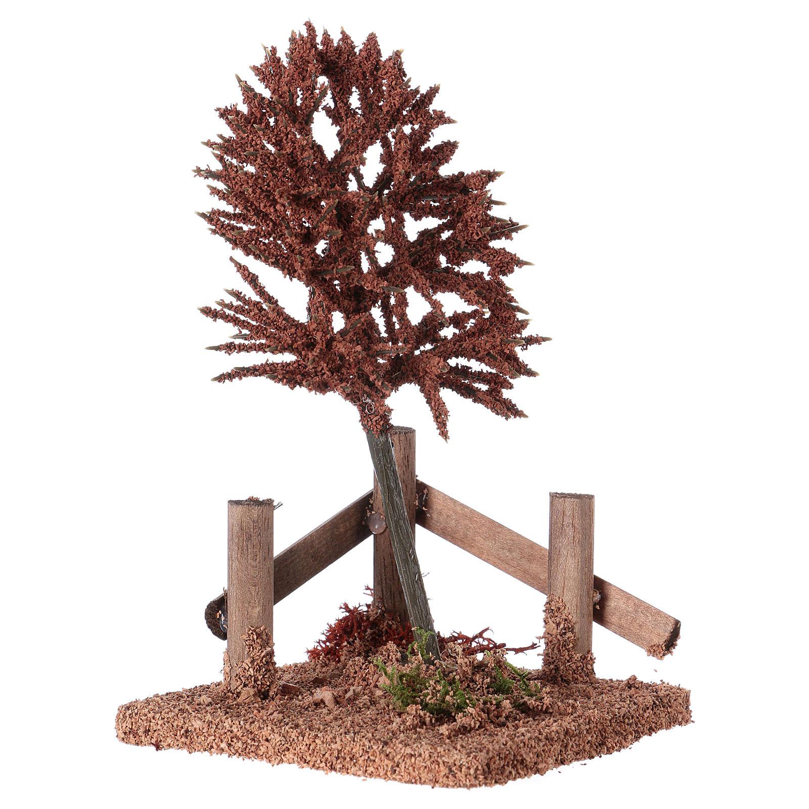 Albero rosso per presepe 15x10x10 cm 4