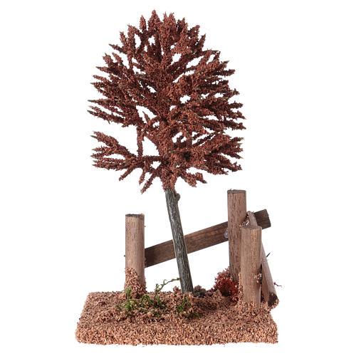 Albero rosso per presepe 15x10x10 cm 1