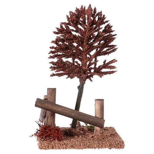 Albero rosso per presepe 15x10x10 cm 3
