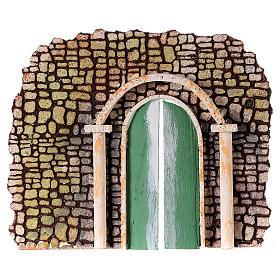 Balustrade, doors, railings: Stone wall with door for Nativity scene 20x15 cm