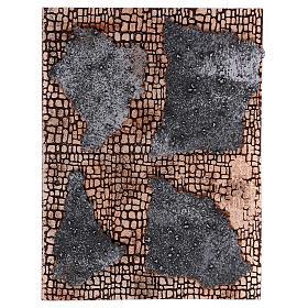 Acessórios de Casa para Presépio: Painel cortiça presépio parede pedra com gesso 35x25 cm
