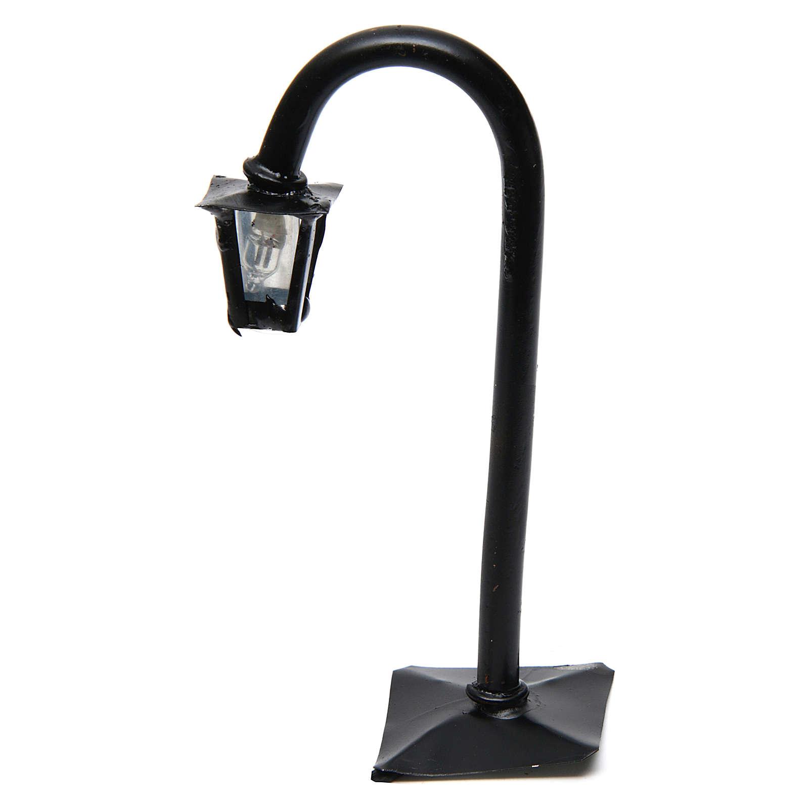Lampione da strada curvo con lanterna h reale 11 cm - 12V 4