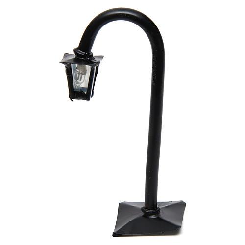 Lampione da strada curvo con lanterna h reale 11 cm - 12V 1