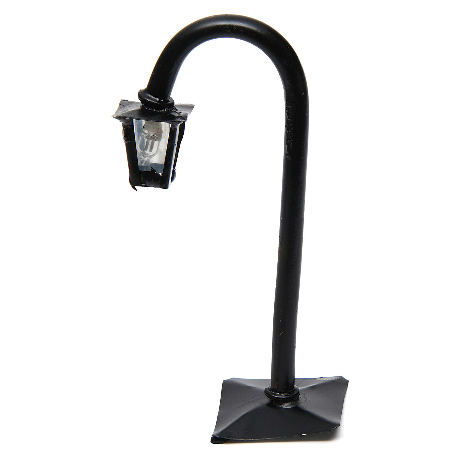 Curved Lamppost with Lantern real h 11 cm - 12V 4