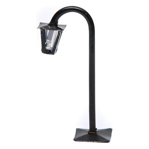 Réverbère de rue courbé avec lanterne h réelle 13 cm crèche Naples - 12V 1