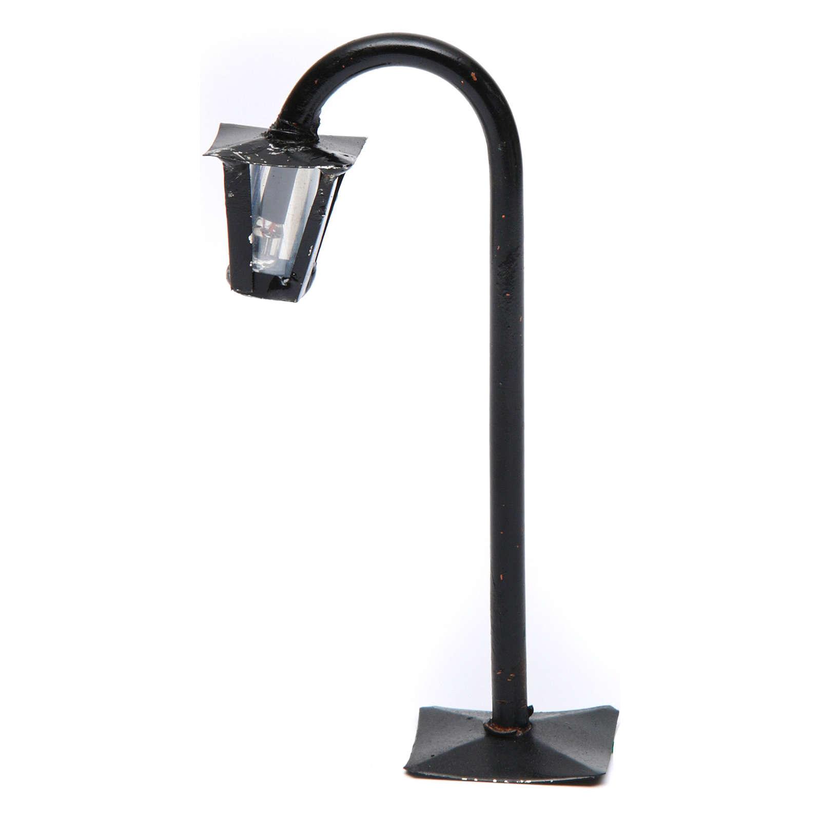 Lampione da strada curvo con lanterna h reale 13 cm presepe Napoli - 12V 4