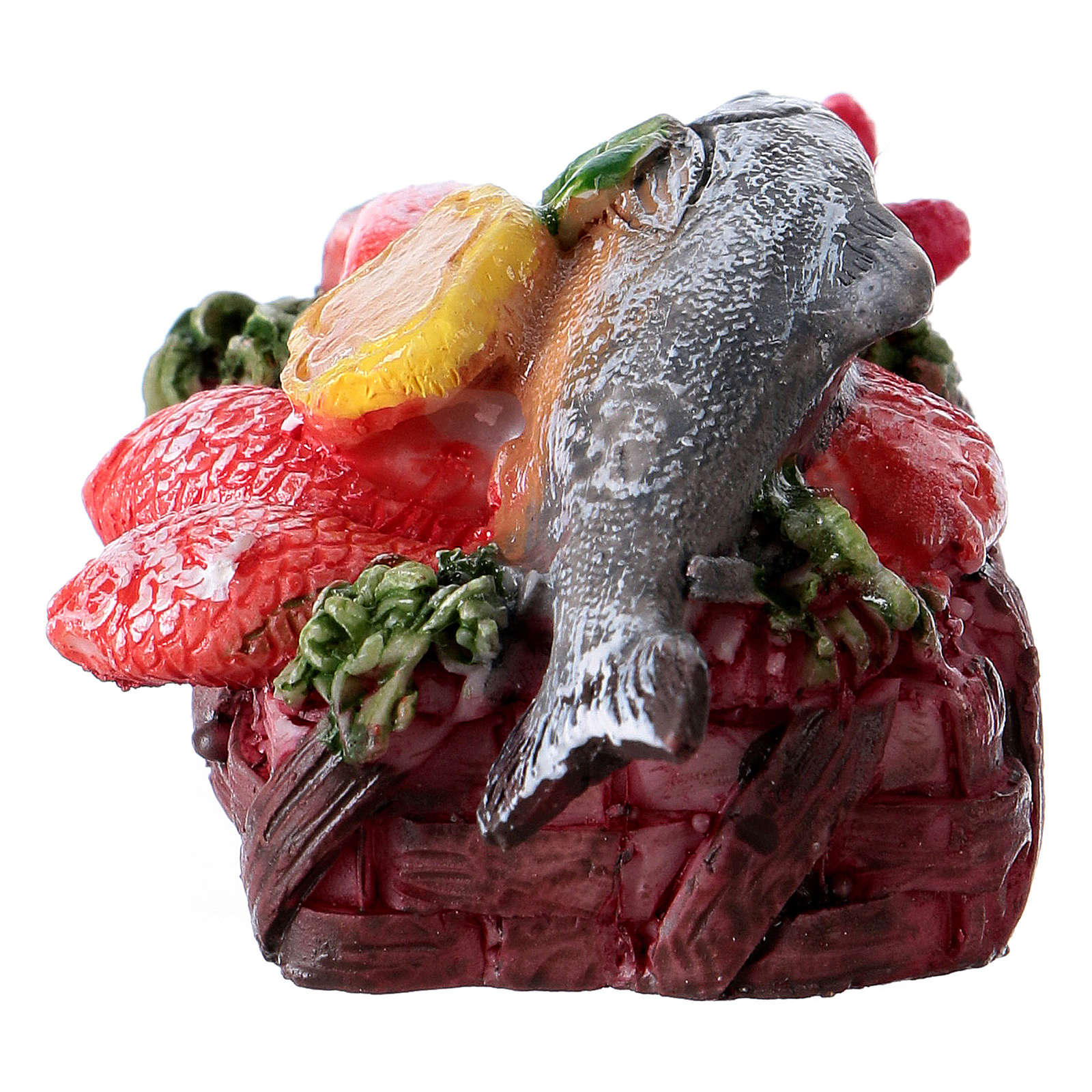 Kosz z rybami 3x5x3 cm do szopki 4