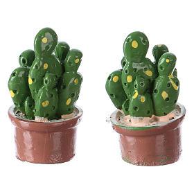 Set 2 pcs pot avec plante 3x2x2 cm résine pour crèche s2
