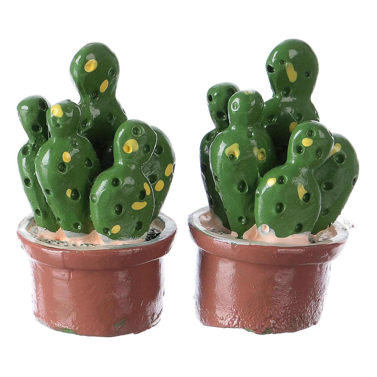 Set 2 pezzi vaso con pianta 3x2x2 cm resina per presepe 4