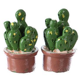 Set 2 pezzi vaso con pianta 3x2x2 cm resina per presepe s1