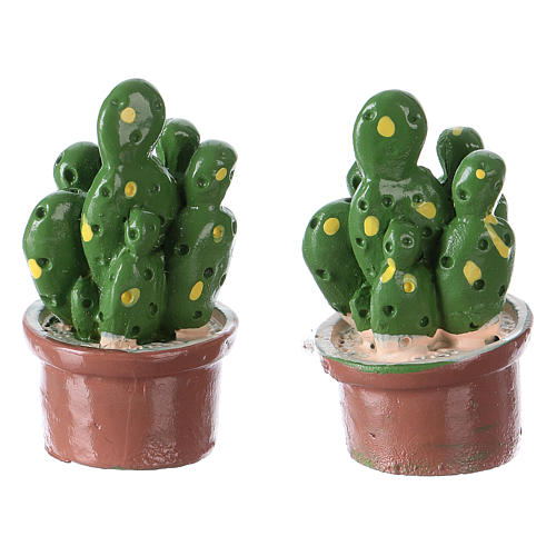 Set 2 pezzi vaso con pianta 3x2x2 cm resina per presepe 2