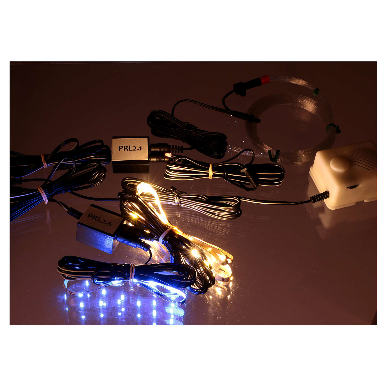 Control unit Frial One Star 30 light blue LEDs 60 white LEDs with fiber optic stars and music device for Nativity scene 4