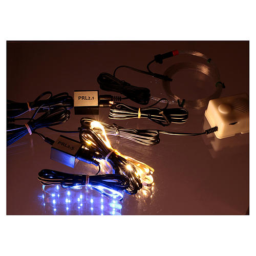 Control unit Frial One Star 30 light blue LEDs 60 white LEDs with fiber optic stars and music device for Nativity scene 8