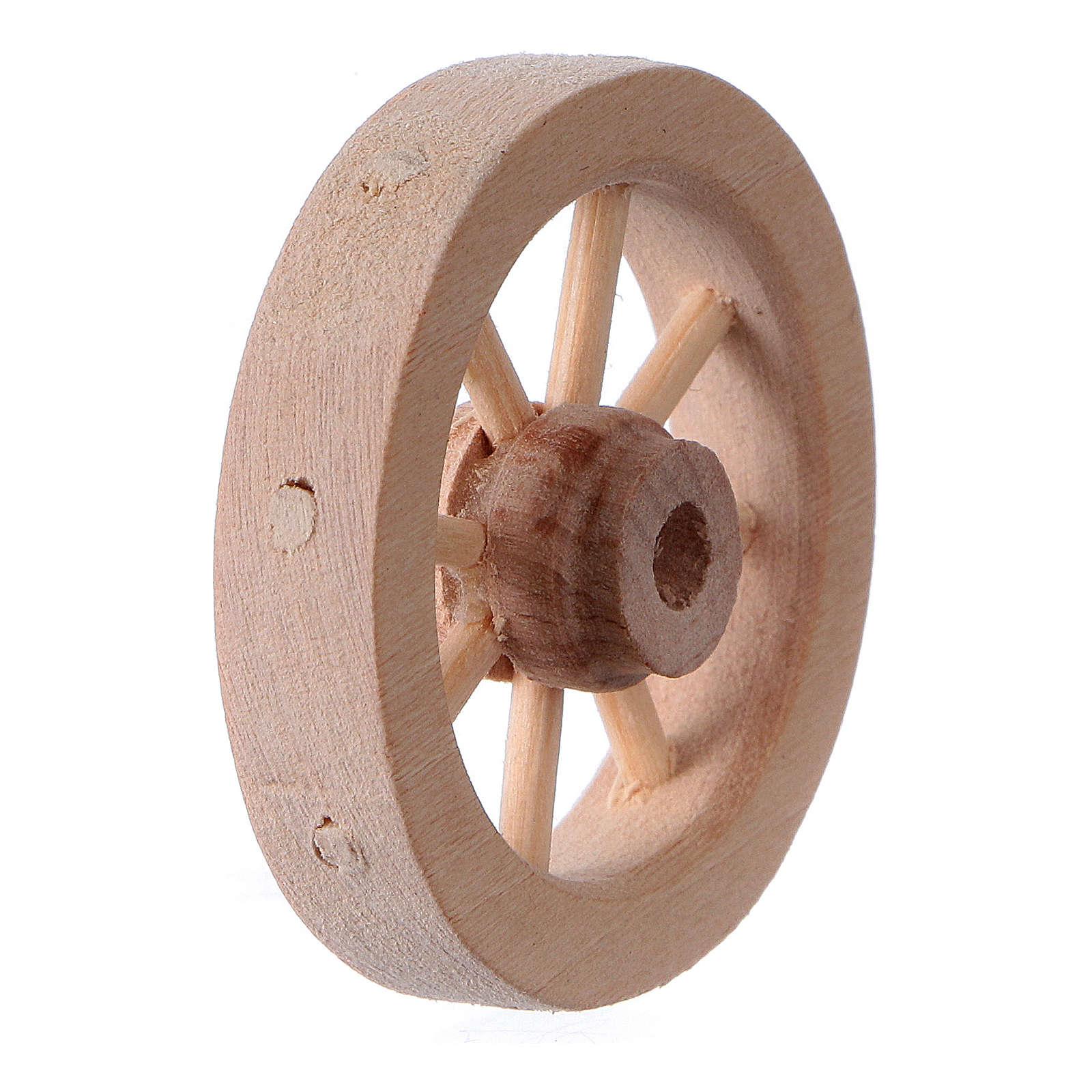 Carriage wheel for Nativity scene in light wood diam. 3.5 cm 4
