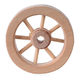 Miniature tools: Carriage wheel for Nativity scene in light wood diam. 3.5 cm
