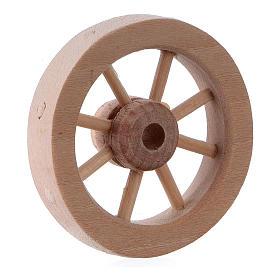 Carriage wheel for Nativity scene in light wood diam. 3.5 cm s2