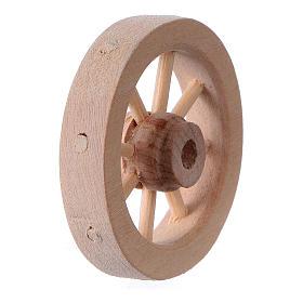Carriage wheel for Nativity scene in light wood diam. 3.5 cm s3