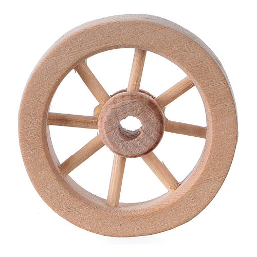 Carriage wheel for Nativity scene in light wood diam. 3.5 cm 1