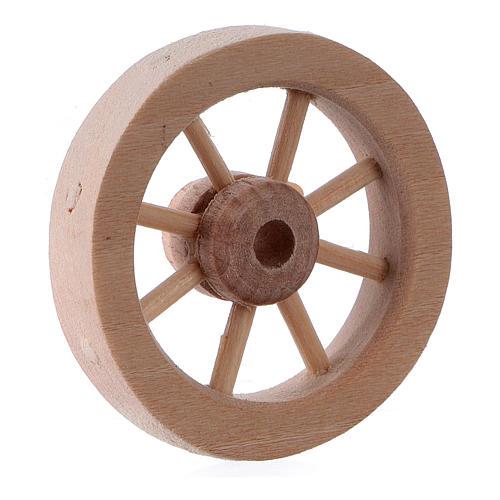Carriage wheel for Nativity scene in light wood diam. 3.5 cm 2