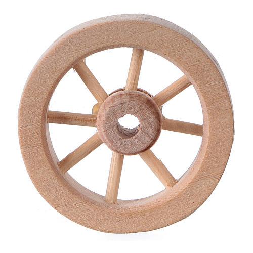 Ruota carro presepe legno chiaro diam. 3,5 cm 1