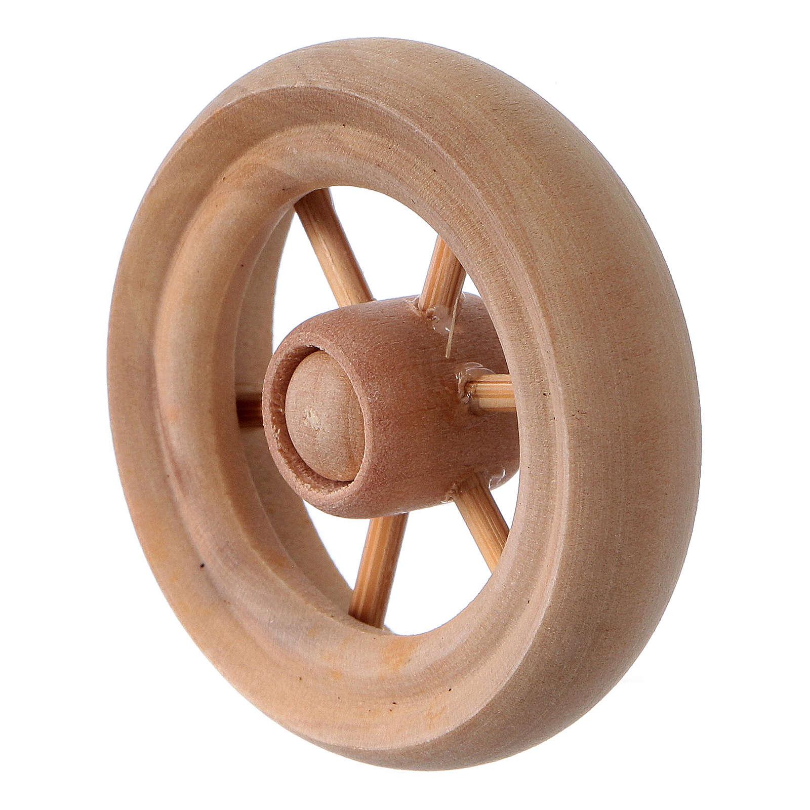 Carriage wheel for Nativity scene in light wood diam. 3.8 cm 4