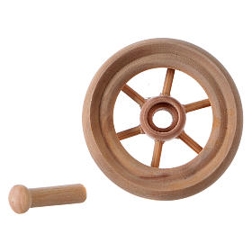 Carriage wheel for Nativity scene in light wood diam. 3.8 cm s4