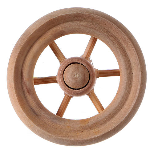 Carriage wheel for Nativity scene in light wood diam. 3.8 cm 1
