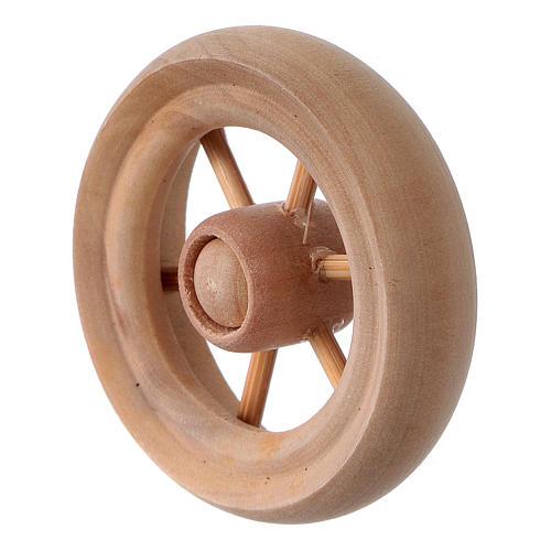 Carriage wheel for Nativity scene in light wood diam. 3.8 cm 2