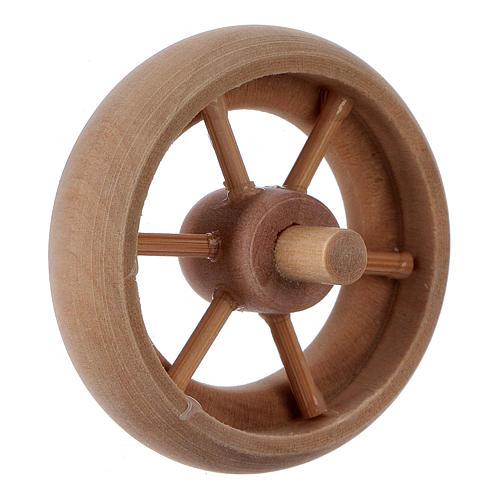 Carriage wheel for Nativity scene in light wood diam. 3.8 cm 3