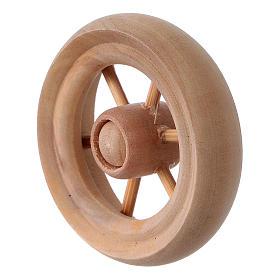 Ruota per carro presepe legno chiaro diam. 3,8 cm s2