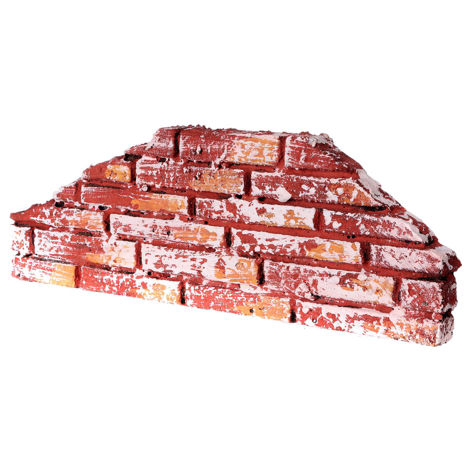 Mauerbrüstung, rustikal, aus Polystyrol, farbig gefasst, 10x25x2 cm 4