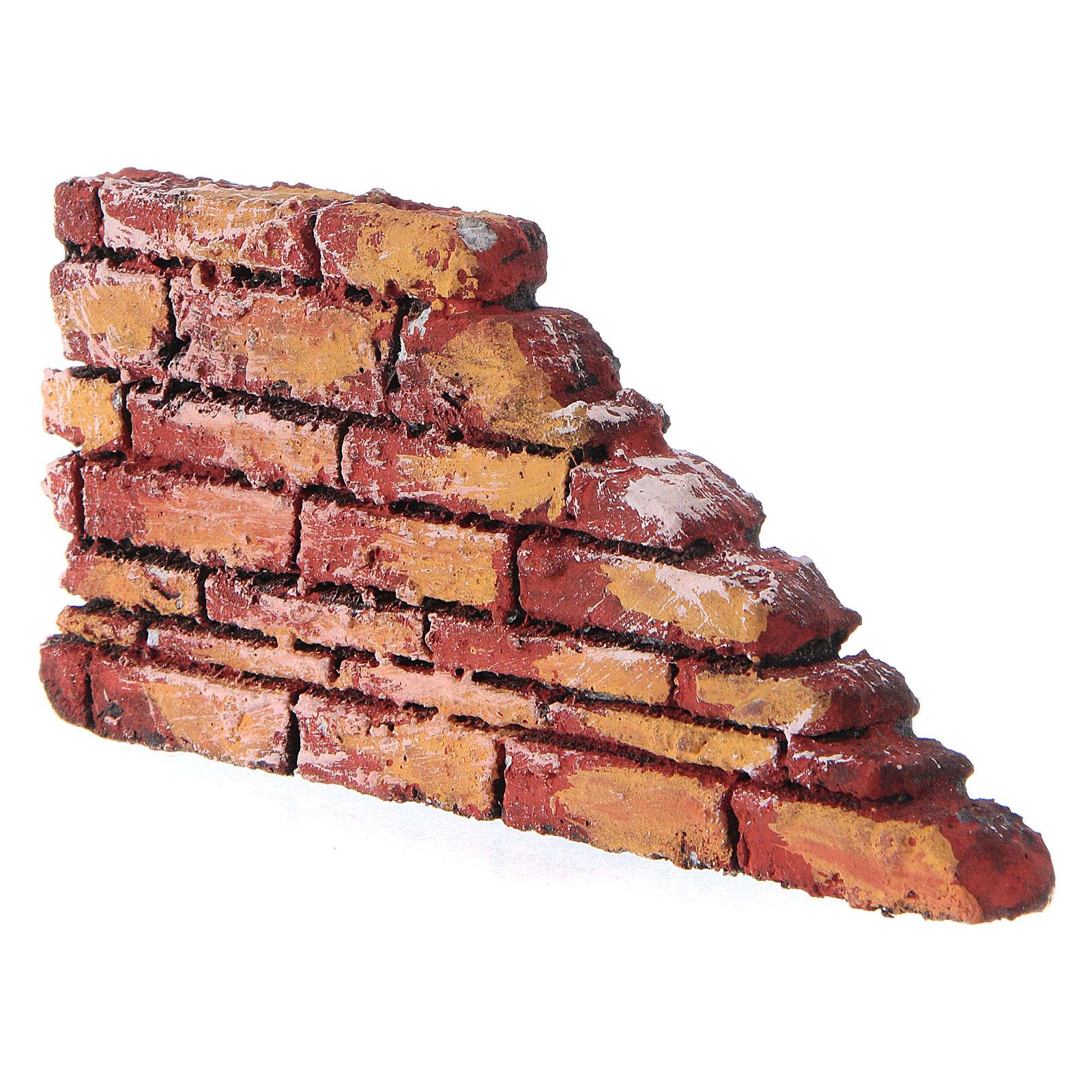 Mauerbrüstung, rustikal, aus Polystyrol, farbig gefasst, 10x20x3 cm 4