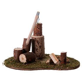 Taglialegna e tronchi per presepe di 15 cm s2