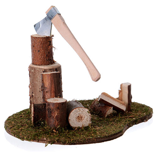 Taglialegna e tronchi per presepe di 15 cm 1