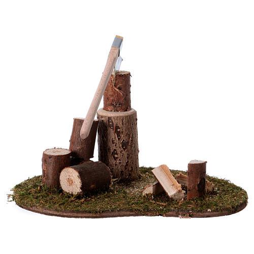 Taglialegna e tronchi per presepe di 15 cm 2