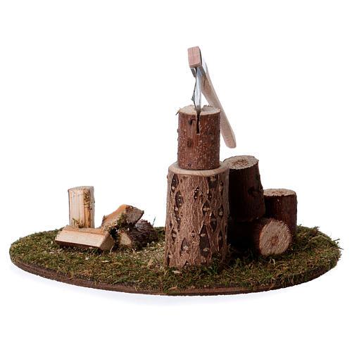 Taglialegna e tronchi per presepe di 15 cm 3