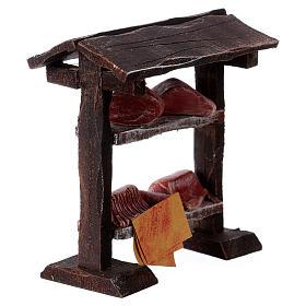 Banchetto carne in legno 9x8,5x4 cm per presepi di 7-8 cm s3