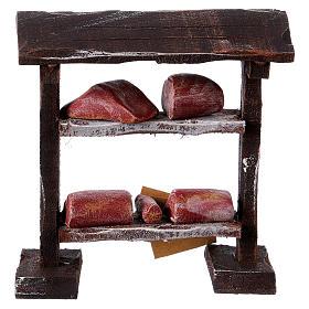Banchetto carne in legno 9x8,5x4 cm per presepi di 7-8 cm s4