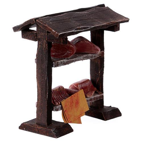 Banchetto carne in legno 9x8,5x4 cm per presepi di 7-8 cm 3