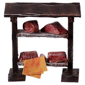 Comida em Miniatura para Presépio: Banca em madeira com carne 9x8,5x4 cm bricolagem para presépio com figuras de 7-8 cm de altura média