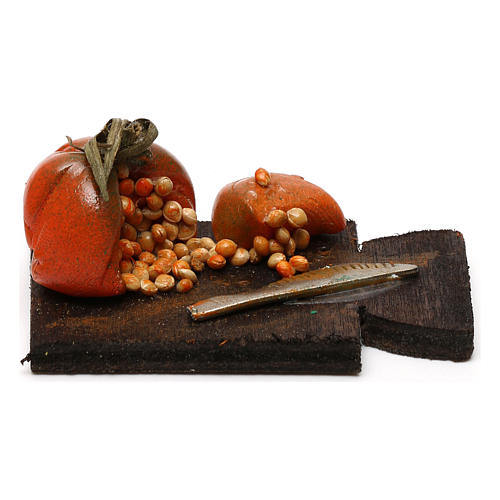 Cutting board with pumpkin, Neapolitan Nativity scene 24 cm 1